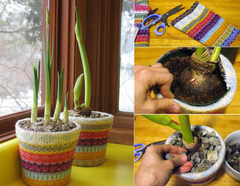 come riciclare riutilizzare golf lana - vasi faidate
