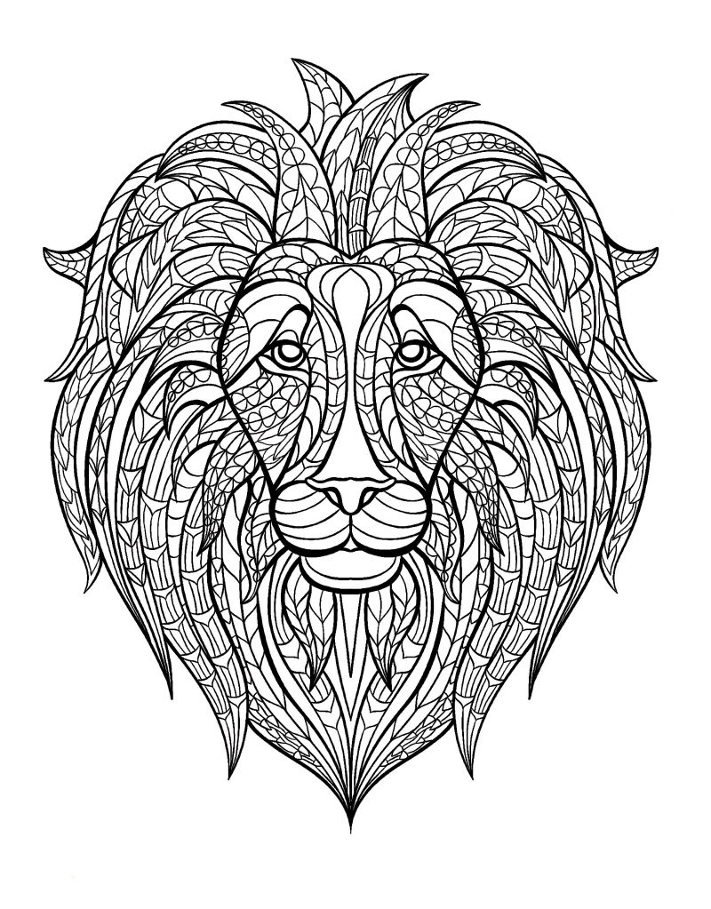 Color therapy coloring pages lion