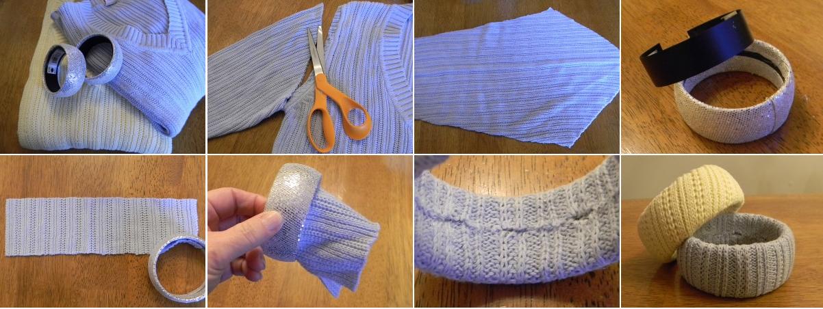 come riciclare riutilizzare golf lana - bracciale faidate