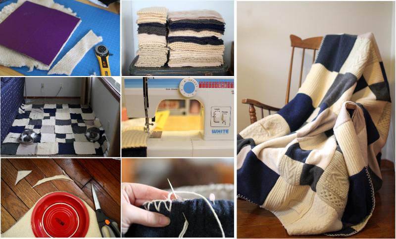 come riciclare riutilizzare golf lana - coperta faidate