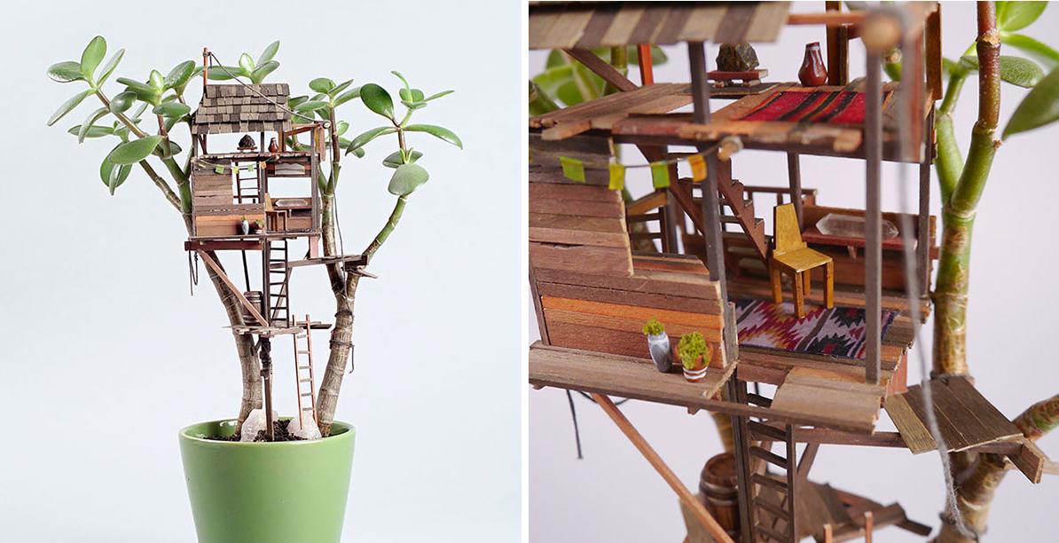 Mini treehouse piccole case per piante da appartamento for Piccole piantine